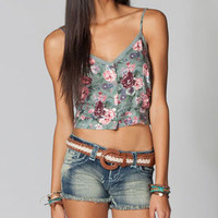 FULL TILT Button Front Floral Womens Crop Top 210784957 | Blouses & Shirts | Tillys.com