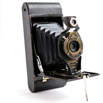 Antique Black Kodak Camera -  Art Deco 1910s No 2-A Folding Accordion Camera / Beautiful Bellows
