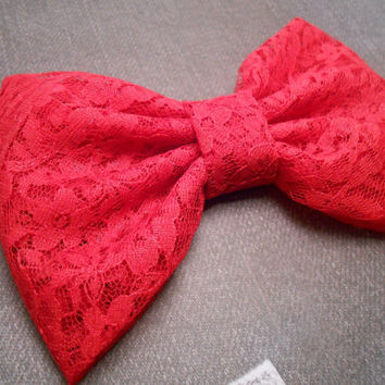 Red Scarlet  Lace Fabric Hair Bow Girls Hair by TitasHidingPlace