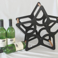 Wine Rack 5 Star Metal and Wood Stand