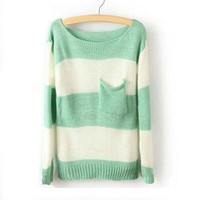 Women's Green White Stripe Pocket Sweater