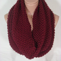 Hand Knitted Hooded Cowl/Scarf/Neck Warmer/Loop Scarf (Burgundy, Wine) by Arzu's Style