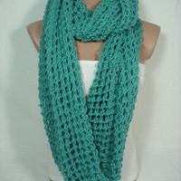 HURRY-Limited Quantity Offer Special Discount Just For 4 Pieces Only Hand Knitted Hooded Cowl/Scarf/Neck Warmer (Dark Mint) by Arzu's Style