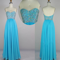 Strapless Sweetheart Beading Chiffon Blue Prom Dress Party Dress