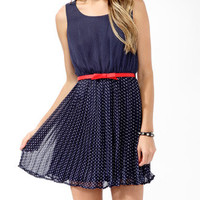 Pleated Polka Dot Dress w/ Belt | FOREVER 21 - 2000049480