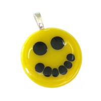Yellow Smiley Face, Smile Pendant, Happy Pendant, Smile Jewelry, Smile Necklace Slide - No Worries - 3415 -2