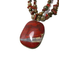 Chunky, Rich Red Beaded Necklace With Jasper Stone and Natural Wood - Crimson, Maple, Avocado, Pumpkin Tones