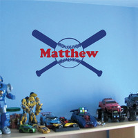 Wall Decal Baseball Bat Personalized Monogram with Name Boys Room Wall Decor