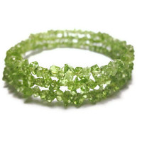 50 PERCENT OFF Sparkling Peridot Gemstone Chip Bracelet -  Emerald Apple Green Egypt's National Gem