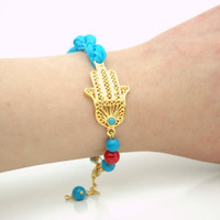 Gold Plated Hand of Fatima, Hamsa Hand Guardian Bracelet with Turquoise Blue Silk Fabric Cord , Turquoise Stones and Red Coral Beads