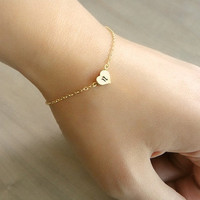 Custom Initial Gold Heart Bracelet Hand stamped by Beazuness