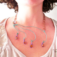 Peacock Inspired Necklace - Wire Wrapped with Orange Swarovski Crystal Elements