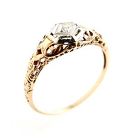 Antique 10K Yellow & White Gold Diamond Ring - Art Deco 1920s Engagement Filigree Fine Jewelry / Geometric Floral Band