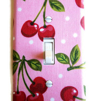 Pink Cherry Single Toggle Switch Plate, wall decor switchplate