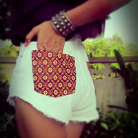 Vintage high waisted tribal denim cut off shorts by Jeansonly