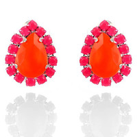 Neon Orange Teardrop with Neon Pink Pave Crystal Teardrop Silver Plated Stud Earrings