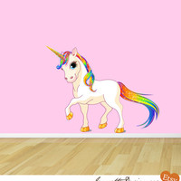 Princess Rainbow Unicorn Fabric Wall Decal