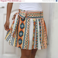 Valentine Sale Colorful Tribal Orange Mini Skirt - Ready to ship