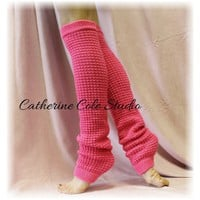 SHOCKING PINK Basic Dancer ballerina yoga Extra Long leg warmers womens popcorn texture roomier LW02 by Catherine Cole Studio legwarmersFrom CatherineColeStudio