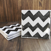 Hand Painted CHEVRON Ceramic Coasters Set of 4, house warming gift, weddings, party favors, hostess gift