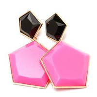 Black Pink Color Block Fashion Earrings