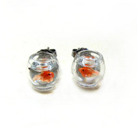 Goldfish Bowl Earrings Miniature Pet Gold Fish On by CuteAbility