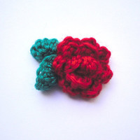 Red Rose Crochet Flower Lapel Pin/Boutonniere/Corsage For Men/Women Accessory Button Brooch Suit Flower