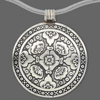 Carved Lotus Flower India Silver Brass Necklace Pendant