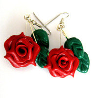Red Rose Earrings, Hypoallergenic Surgical Steel Hooks, Valentine's Day Gifts for Her