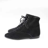 Vintage black suede flat lace up 80s shoes