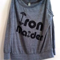 "Large Grey  ""Iron Maiden"" Fitness / Workout Off Shoulder, Lightweight Pullover Sweatshirt"