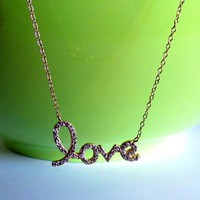 CZ LOVE Necklace-Gold Over Sterling Silver Script Letter LOVE Necklace