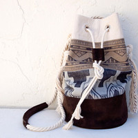 Aztec Tribal Print Bucket Bag Hobo Original Artwork Canvas Leather Suede Purse Tote