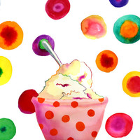 "Ice Cream Print, Custom Matted...Final Size 14""x18"""