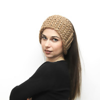 Beige Headband, Bulky Knit Headband, Earwarmers, Headwarmer, Headwrap by Solandia, Knitting accessories, Women Fashion, winter, ski