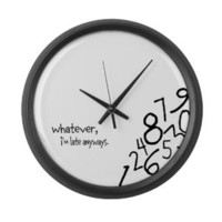 Amazon.com: Whatever, I&#x27;m late anyways Wall Clock Large Wall Clock by CafePress - Black: Home &amp; Kitchen