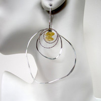Sterling Silver Hoop Earrings Large Hammered Hoop Earrings Citrine Drop