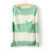 Stripe Pocket Sweater M Size