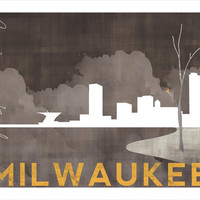 Foggy Night Milwaukee Skyline Art - 8x10 Printable Illustration