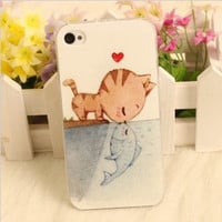 Cute Cartoon Cat Kiss Fish Love Story Hard Cover Case For Iphone 4/4s/5