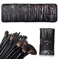 Amazon.com: MelodySusie Natural Hair Made 32 Count Super Professional Studio Brush Set with Leather Pouch: Beauty