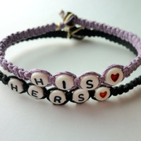 His Hers Couples Bracelet Set, Light Purple and Black Hemp Bracelets