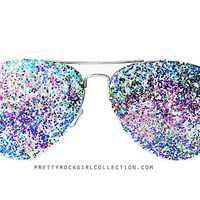 Multi Color Unisex GLITTER Aviator Sunglasses