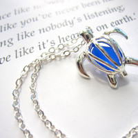 Cute Turtle locket Necklace with real cobalt blue Sea Glass - Perfect nautical gift for sisters, girlfriends, turtle lovers - FREE SHIPPING