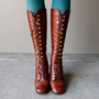 Vintage 1970&#x27;s BOHO Leather Boots LACE UP Steam Punk (Size 7.5)