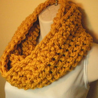 Yellow Gold Cowl Infinity Circle Scarf Neckwarmer by madebymandy35