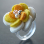 CAMELLIA RING  Felt Flower   white and yellow by MIXKO on Etsy