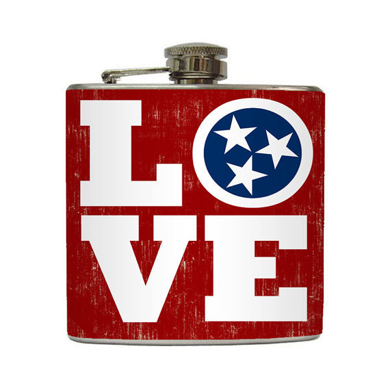 Tennessee Whiskey Flask Love TN Country Music by LiquidCourage