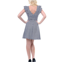 Black & White Houndstooth Debbie Dress - Unique Vintage - Prom dresses, retro dresses, retro swimsuits.