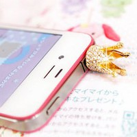 Anti-dust Crown Style Earphone Jack for iPhone and iPad (Golden)